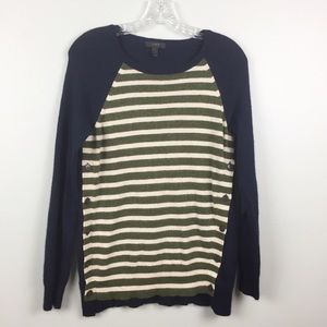 J Crew Sweater Small Wool Blend Stripes Buttons